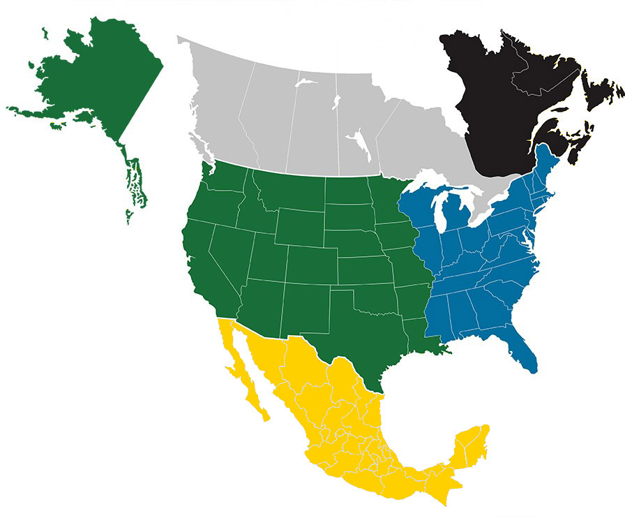 Sales rep map of North America. Individual territories are specified below as well.